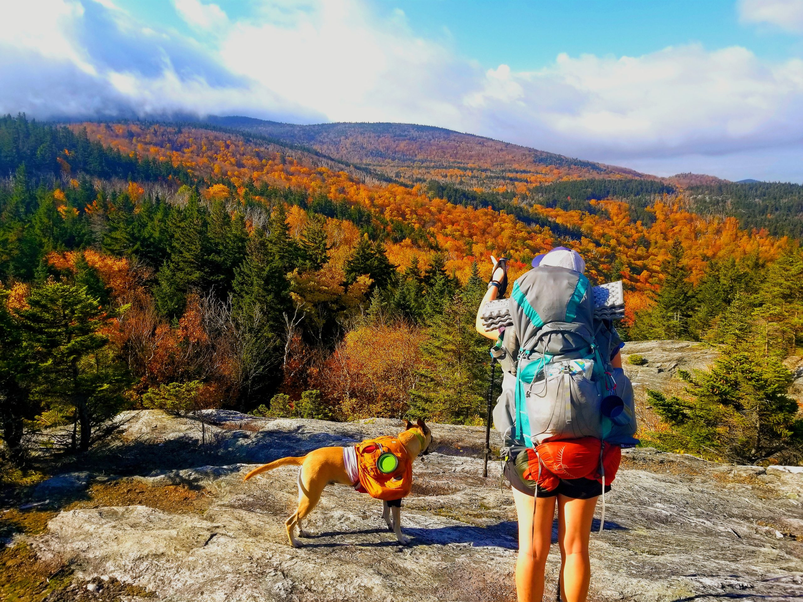 hiker and dog in Vermont in fall
